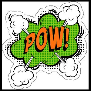 Green Pow Comic Sticker