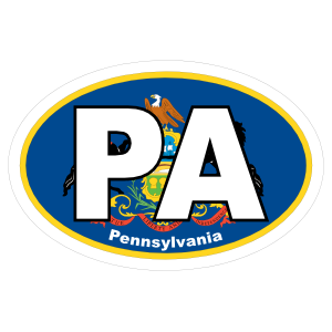 Pennsylvania Pa State Flag Oval Sticker