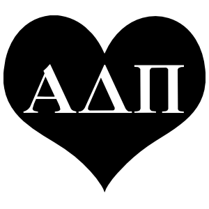 Alpha Delta Pi Heart Cutout Sticker