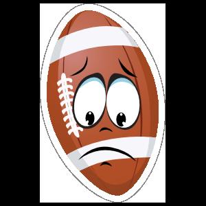 Mournful Cartoon Football Sticker