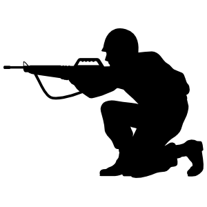 Soldier Aiming Gun Sticker