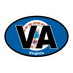 Virginia Va State Flag Oval Sticker