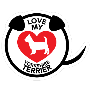 I Love My Yorkshire Terrier Puppy Heart Circle With Tail Magnet
