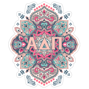 Light Pink and Blue Alpha Delta Pi Mandala Sticker