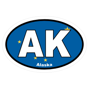 Alaska Ak State Flag Oval Sticker