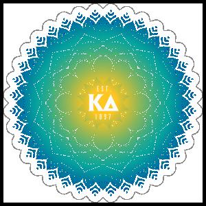 Yellow and Blue kappa Delta Mandala Sticker
