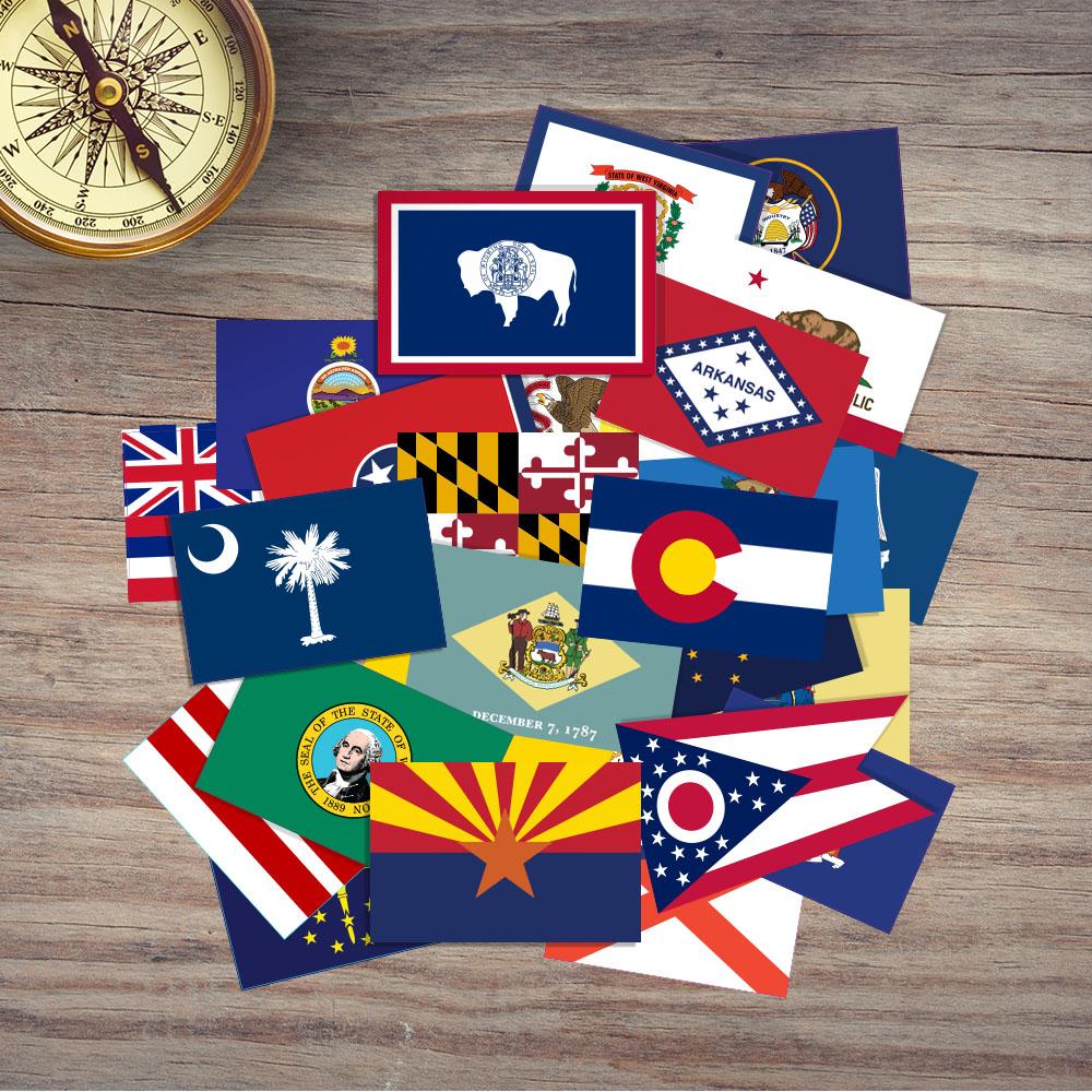 50 USA State Flag Stickers - 50 Piece Bundle