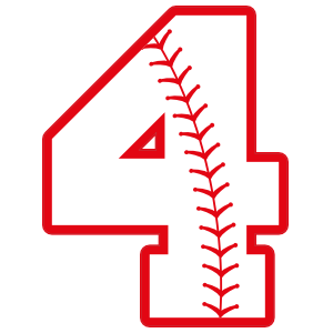 Baseball Style Number 4 With Seam Sticker