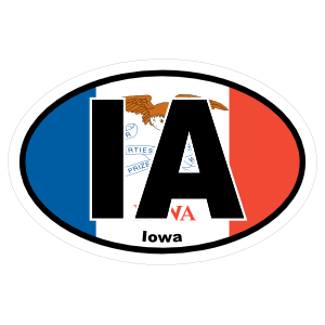 Iowa Ia State Flag Oval Sticker