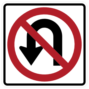 No U Turn Arrow Sticker