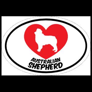 I Love My Australian Shepherd With Heart Oval Magnet