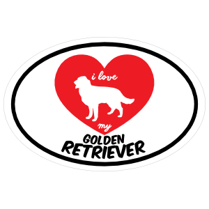 Handwritten I Love My Golden Retriever With Heart Oval Sticker