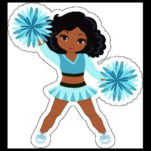 Happy PomPom Cheerleading Sticker