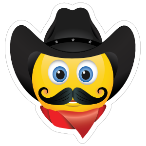 Cute Cowboy with Bandana Black Hat and Mustache Emoji Sticker