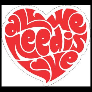 All We Need is Love Hippie Sticker