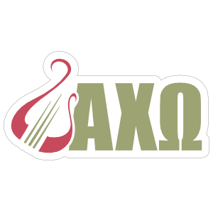Alpha Chi Omega Lyre and Letters Color Sticker