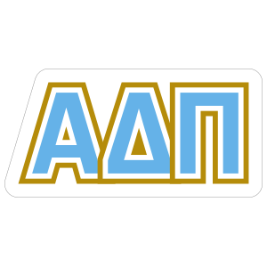 Alpha Delta Pi Blue and Gold Letters Sticker