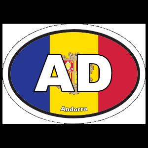 Andorra AD Flag Oval Sticker