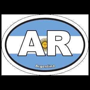 Argentina AR Flag Oval Sticker
