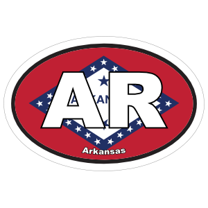 Arkansas Ar State Flag Oval Sticker