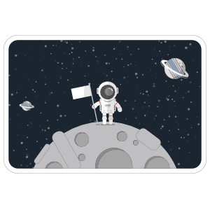 Astronaut On Moon Rounded Rectangle Sticker