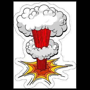 Atom Bomb Comic Sticker