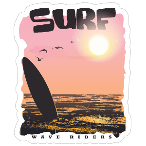 Awesome Surfing Sticker