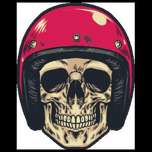 Skull In Red Helmet Sticker