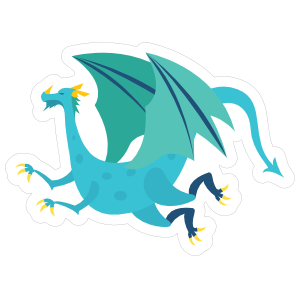 Blue Spotted Flying Dragon Sticker