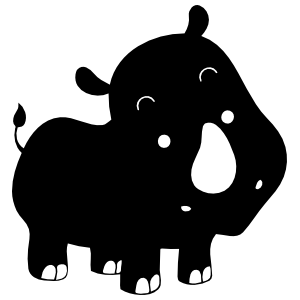Baby Rhinoceros With Big Nose Sticker