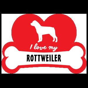 Handwritten I Love My Rottweiler With Dog Bone And Heart Sticke