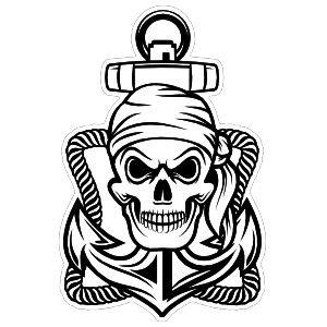 Bandana Skull Pirate on Anchor Sticker