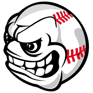 Baseball With Angry Face Sticker