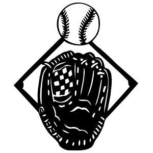 Baseball Softball Diamond Glove And Ball Sticker