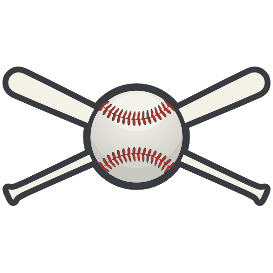 Baseball or Softball with Crossed Bats Sticker