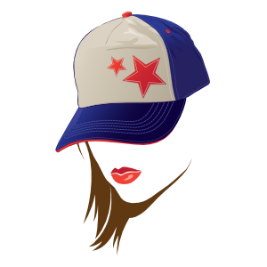 Baseball or Softball Star Hat with Lipstick Magnet