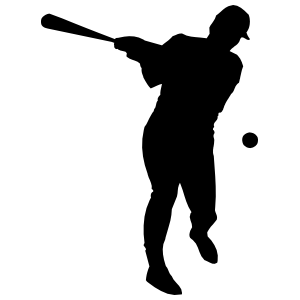 Baseball Player Hitting Ball Sticker