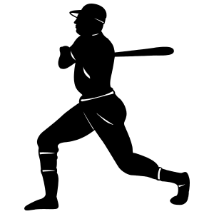 Baseball Player Swinging Bat Sticker