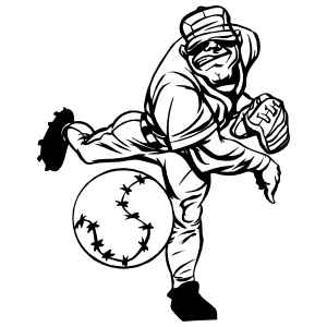 Big Baseball Player Throwing Ball Sticker
