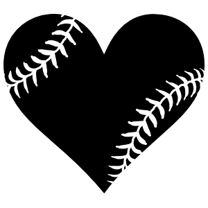 Baseball Seam Heart Cut-Out Sticker