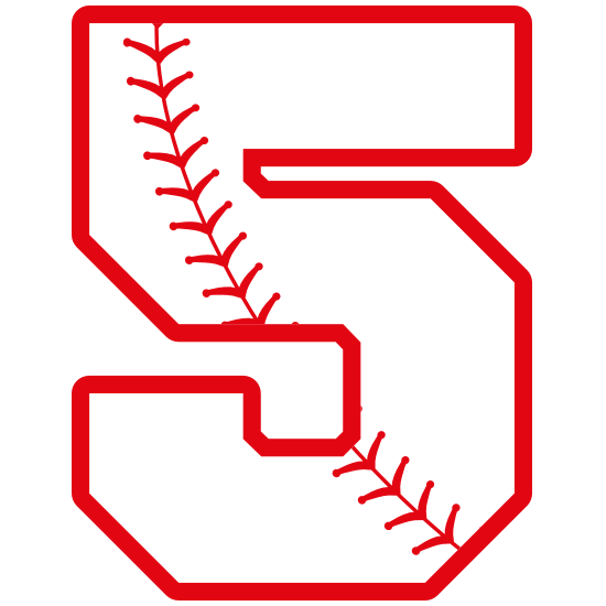 Baseball Style Number 5 With Seam Sticker