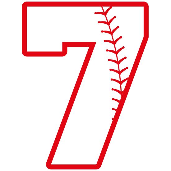 Baseball Style Number 7 With Seam Sticker