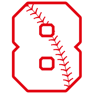 Baseball Style Number 8 With Seam Sticker