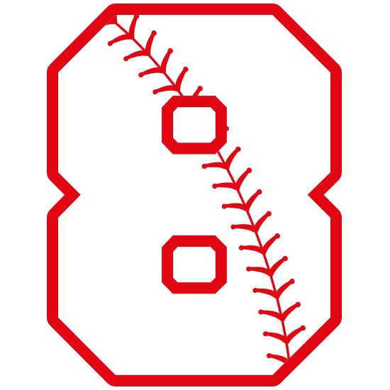 Baseball Style Number 8 With Seam Magnet