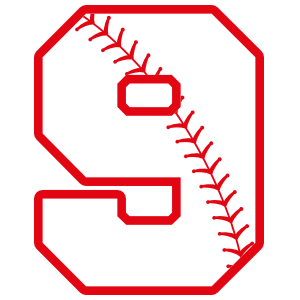 Baseball Style Number 9 With Seam Sticker