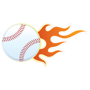 Baseball With Short Flames Magnet