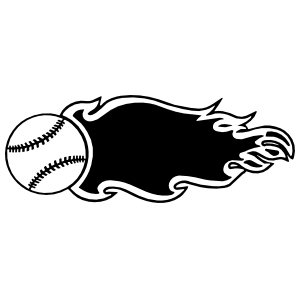 Baseball Softball With Flames Sticker