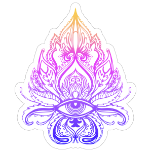 Colorful Lotus with Third Eye Boho Sticker