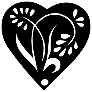 Pedaled Flower In A Heart Sticker