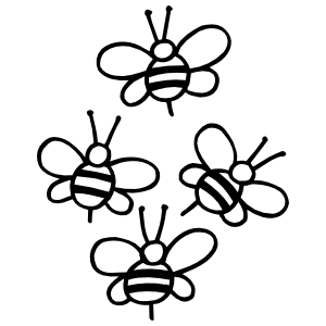 Four Bees Sticker